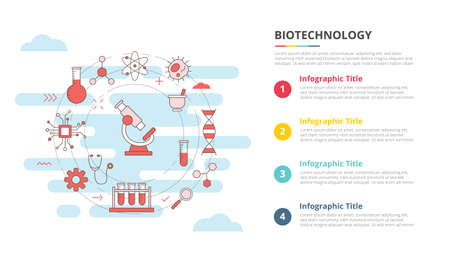 biotechnology concept for infographic template banner with four point list information vector illustration 向量圖像