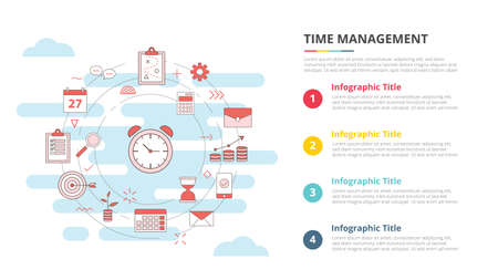 time management concept for infographic template banner with four point list information vector illustration