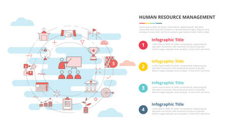 hrm human resource management concept for infographic template banner with four point list information vector illustration