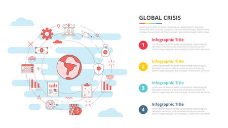 global crisis concept for infographic template banner with four point list information vector illustration