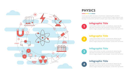 physics concept for infographic template banner with four point list information vector illustration