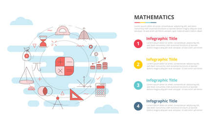 mathematics concept for infographic template banner with four point list information vector illustration