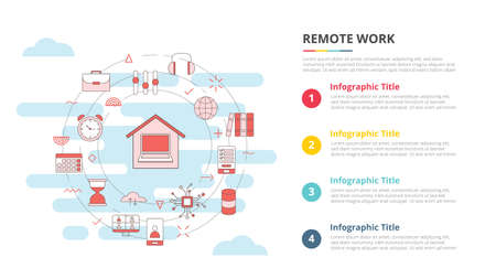 remote work concept for infographic template banner with four point list information vector illustration 向量圖像