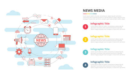 news media concept for infographic template banner with four point list information vector illustration