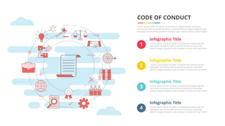 code of conduct concept for infographic template banner with four point list information vector illustration