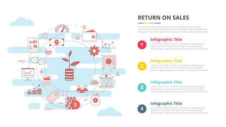 return on sales ros concept for infographic template banner with four point list information vector illustration
