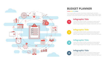 budget planner concept for infographic template banner with four point list information vector illustration