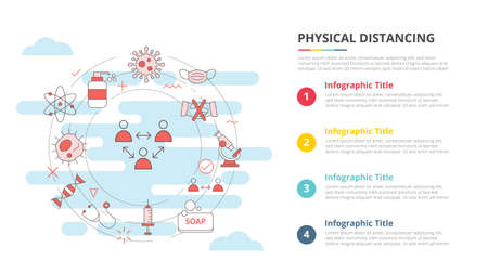 social distancing concept for infographic template banner with four point list information vector illustration