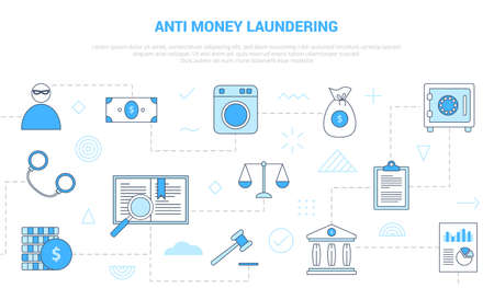 aml anti money laundering concept with icon set template banner with modern blue color style vector illustration