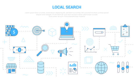 local search concept with icon set template banner with modern blue color style vector illustration