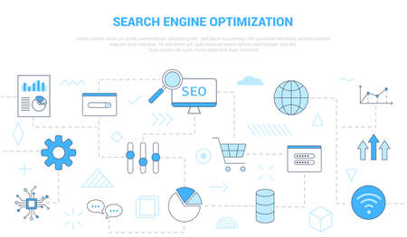 seo search engine optimization concept with icon set template banner with modern blue color style vector illustration