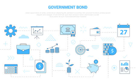 government bond concept with icon set template banner with modern blue color style vector illustration 向量圖像