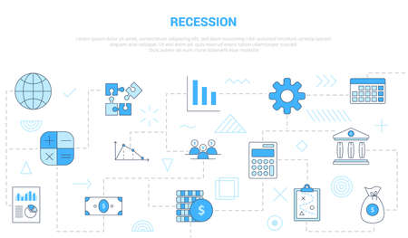 recession concept with icon set template banner with modern blue color style vector illustration 向量圖像