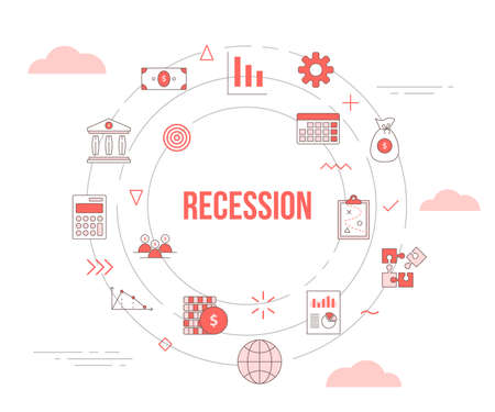 business recession concept with icon set template banner with modern orange color style and circle round shape vector illustration