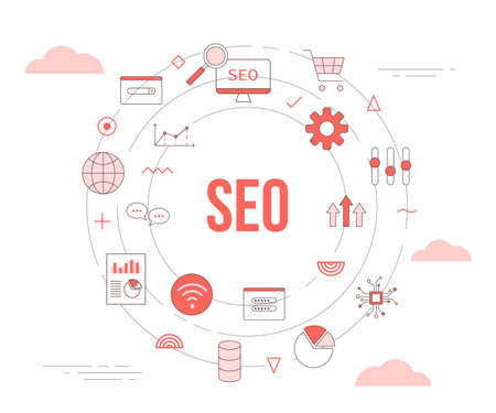seo search engine optimization concept with icon set template banner with modern orange color style and circle round shape vector illustration 向量圖像