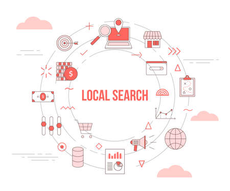 local search concept with icon set template banner with modern orange color style and circle round shape vector illustration
