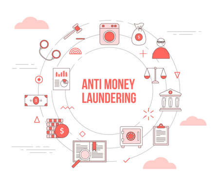 aml anti money laundering concept with icon set template banner with modern orange color style and circle round shape vector illustration