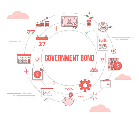 government bond concept with icon set template banner with modern orange color style and circle round shape vector illustration 向量圖像