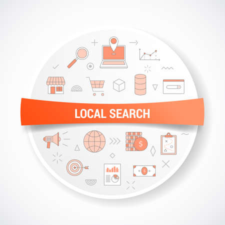 local search concept with icon concept with round or circle shape vector illustration