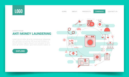 aml anti money laundering concept with circle icon for website template or landing page banner homepage outline style vector illustration