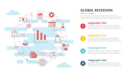 business recession concept for infographic template banner with four point list information vector illustration