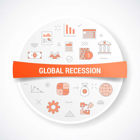 business recession concept with icon concept with round or circle shape vector illustration