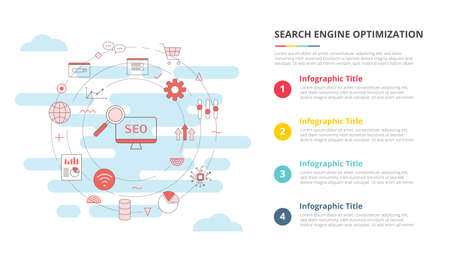 seo concept for infographic template banner with four point list information vector illustration 向量圖像