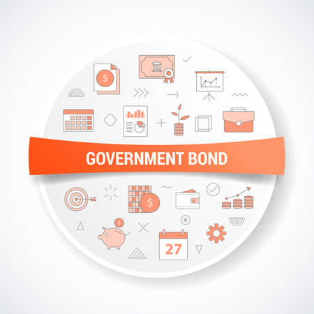 government bond concept with icon concept with round or circle shape vector illustration 向量圖像