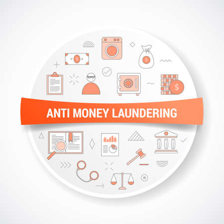aml anti money laundering concept with icon concept with round or circle shape vector illustration