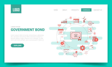 government bond concept with circle icon for website template or landing page banner homepage outline style vector illustration 向量圖像