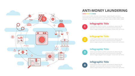 aml anti money laundering concept for infographic template banner with four point list information vector illustration