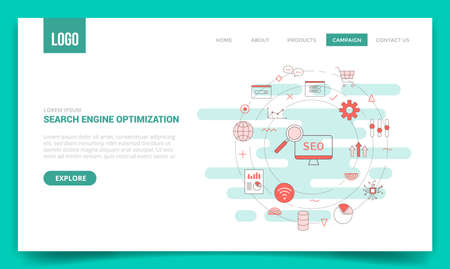 seo concept with circle icon for website template or landing page banner homepage outline style vector illustration