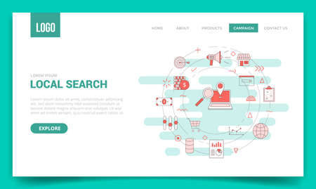 local search concept with circle icon for website template or landing page banner homepage outline style vector illustration 向量圖像