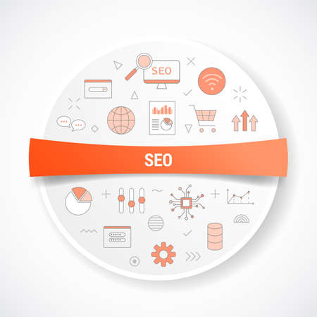 seo concept with icon concept with round or circle shape vector illustration Vectores