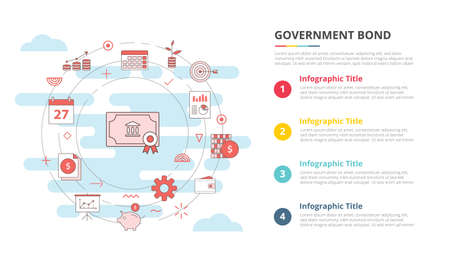 government bond concept for infographic template banner with four point list information vector illustration