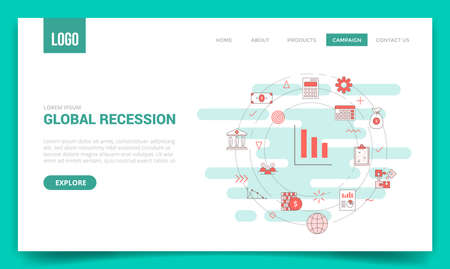 global recession concept with circle icon for website template or landing page banner homepage outline style vector illustration