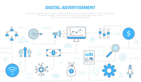 digital advertisement concept with icon set template banner with modern blue color style vector illustration