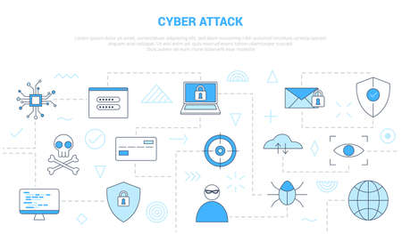 cyber attack concept with icon set template banner with modern blue color style vector illustration