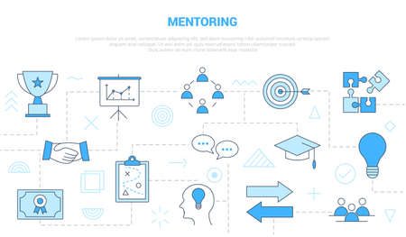 mentoring people in business concept with icon set template banner with modern blue color style vector illustration Vectores