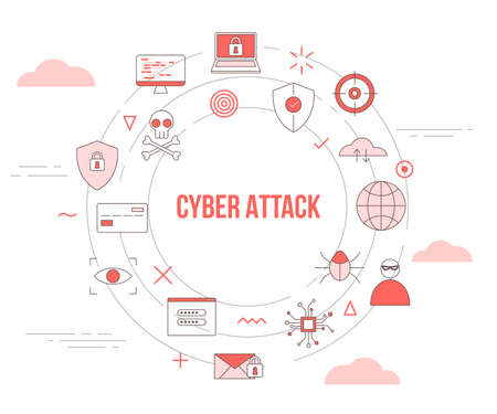 cyber attack concept with icon set template banner with modern orange color style and circle round shape vector illustration