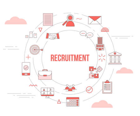 recruitment concept with icon set template banner with modern orange color style and circle round shape vector illustration