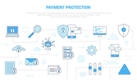 payment protection concept with icon set template banner with modern blue color style vector illustration Vectores