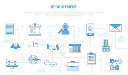 recruitment concept with icon set template banner with modern blue color style vector illustration Vectores