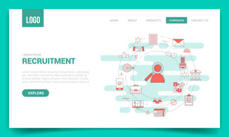 recruitment concept with circle icon for website template or landing page banner homepage outline style vector illustration Vectores