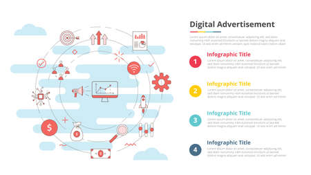 digital advertisement concept for infographic template banner with four point list information vector illustration