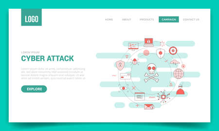 cyber attack concept with circle icon for website template or landing page banner homepage outline style vector illustration