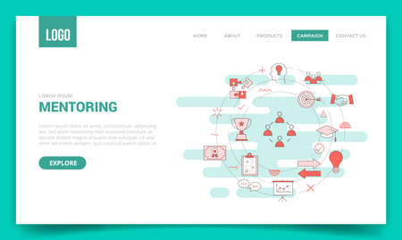mentoring concept with circle icon for website template or landing page banner homepage outline style vector illustration Vectores
