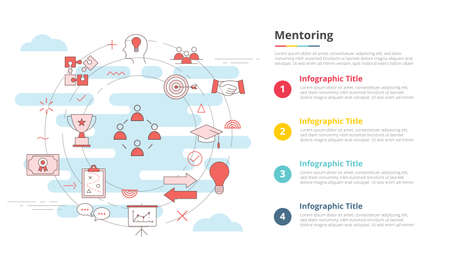 mentoring concept for infographic template banner with four point list information vector illustration