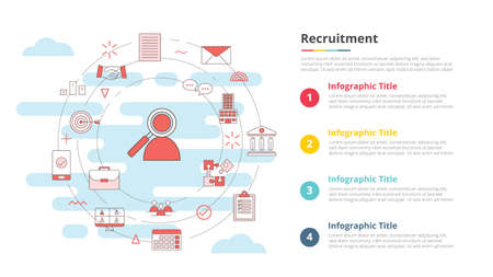 recruitment concept for infographic template banner with four point list information vector illustration