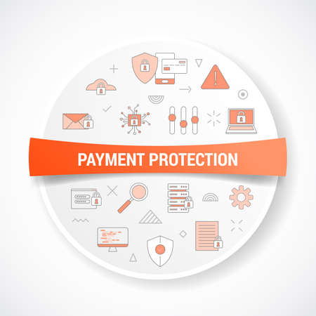 payment protection concept with icon concept with round or circle shape vector illustration